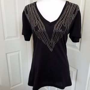 Kenneth Cole V-neck Embellished T-shirt